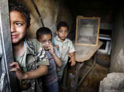 Frightened children in Gaza