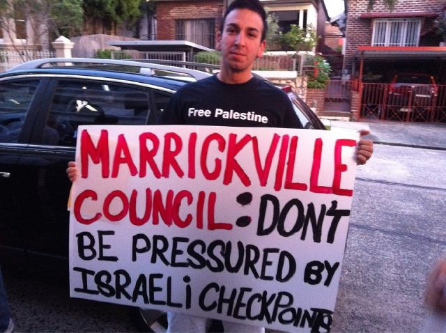 Banner outside Marrickvile Council meeting