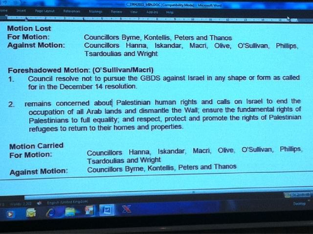 The final motion at Marrickville Council meeting