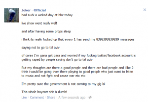 Confusing the issue - Joker's facebook status which he deleted quickly