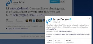 Israeli government tweets Guns N' Roses