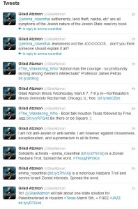 Atzmon uses twitter for self-promotion
