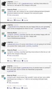 Laura Stuart tweets about her zionist propaganda