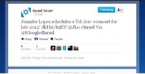 Jennifer Lopez Israel tweet