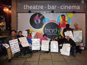 Protest outside the Tricycle Theatre November 2013