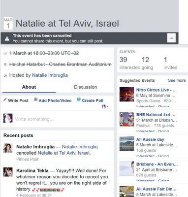 Natalie Imbruglia cancels Israel